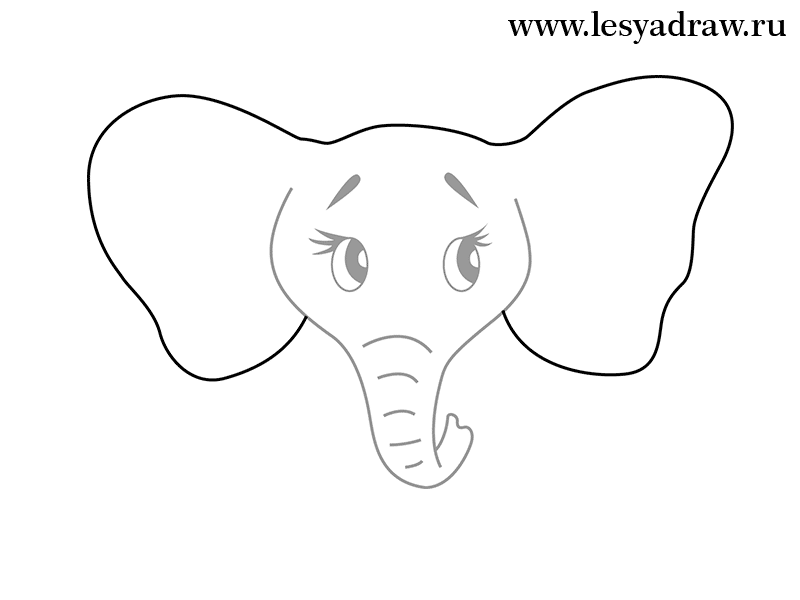 Simple elephant head drawing